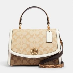 Coach Tilly Top Handle In Blocked Signature Canvas